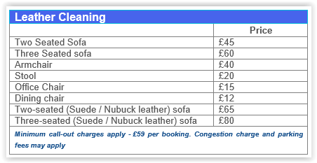 Leather cleaning prices Chiswick